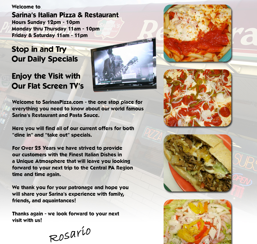Sarinas Pizza Restaurant Philipsburg Pa